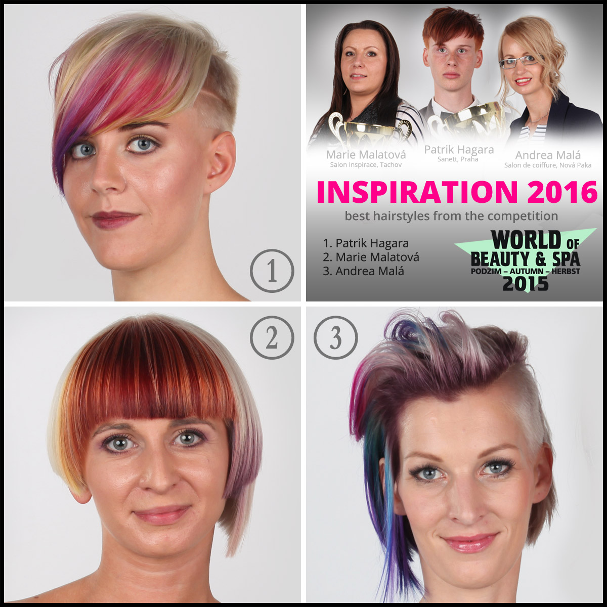 Hairstyles from the 6th year of hairdressing competition World of Beauty & Spa – Inspiration 2016.