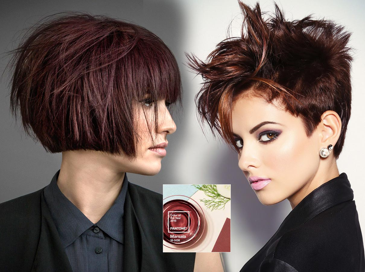 Trendy colors for short hair fall/winter 2015/2016: brownish-red color of the year 2015 Marsala will not miss this fall!