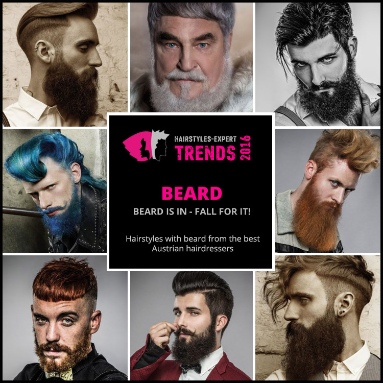Come choose your beard 2016. You will find your inspiration in the hairstyles with beards by the best male hairdressers from Austria. Moustache is in - fall for it!