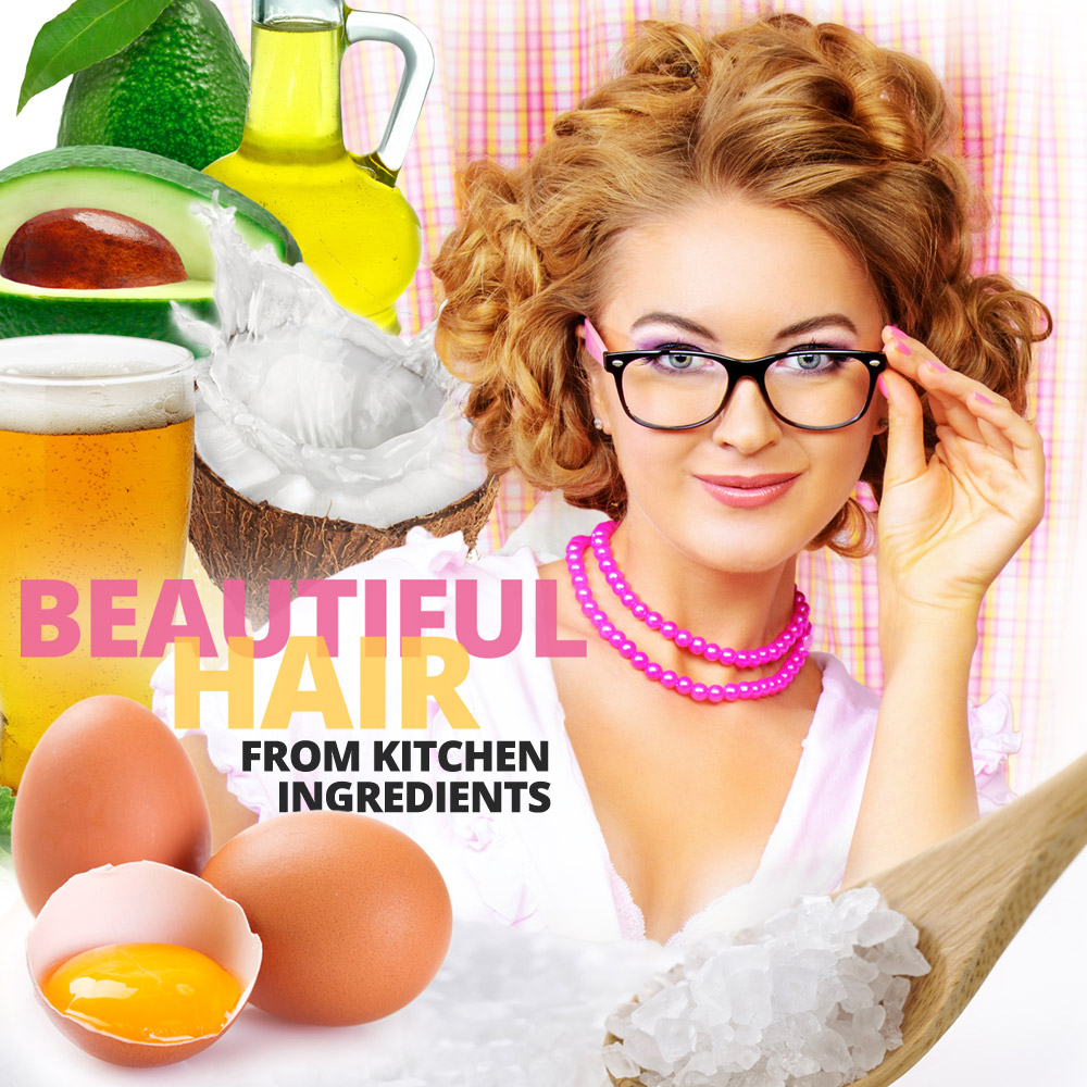 Beautiful hair from basic kitchen ingredients. Oil, eggs, salt, vinegar, garlic, onion, lemon, beer, alcohol or avocado can do magic with hair and scalp.