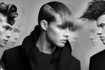 Hairstyles from collection by Nicole Higgins with shaved parting nominated in competition of North American hairdressers NAHA 2016.