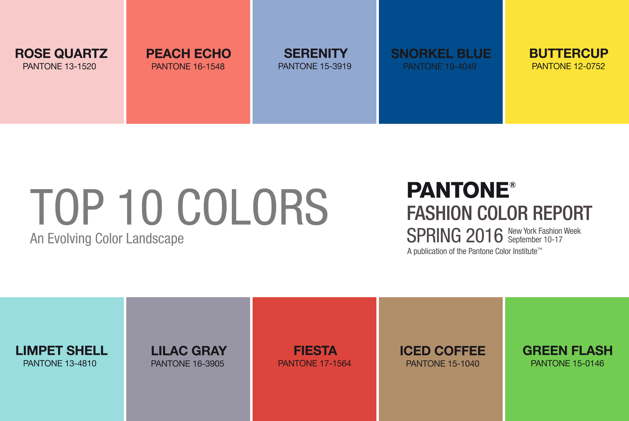 Top 10 trendy colours for spring and summer 2016 according to Pantone.