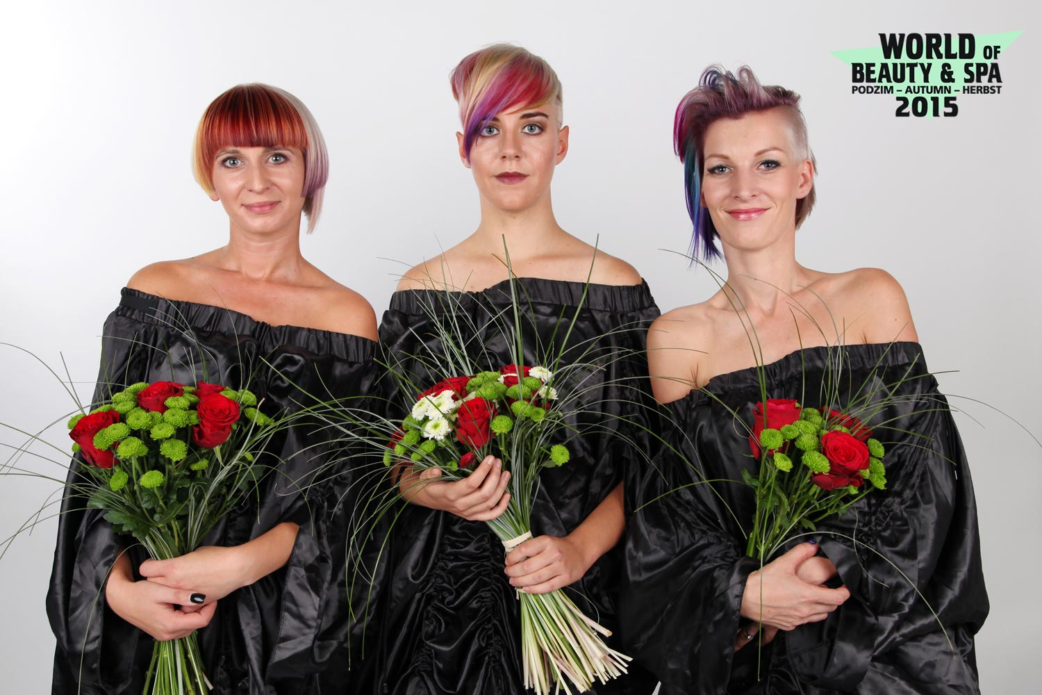 The best hairstyles from competition Inspiration 2016: 1st place Patrik Hagara, Sanett, Prague; 2nd place Marie Malatova, Salon Inspiration, Tachov; 3rd place Andrea Mala, Salon de coiffure, Nova Paka.