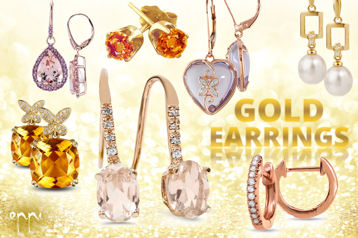 Golden earrings from white, yellow and pink gold in many designs offers internet jewellery Eppi.cz.