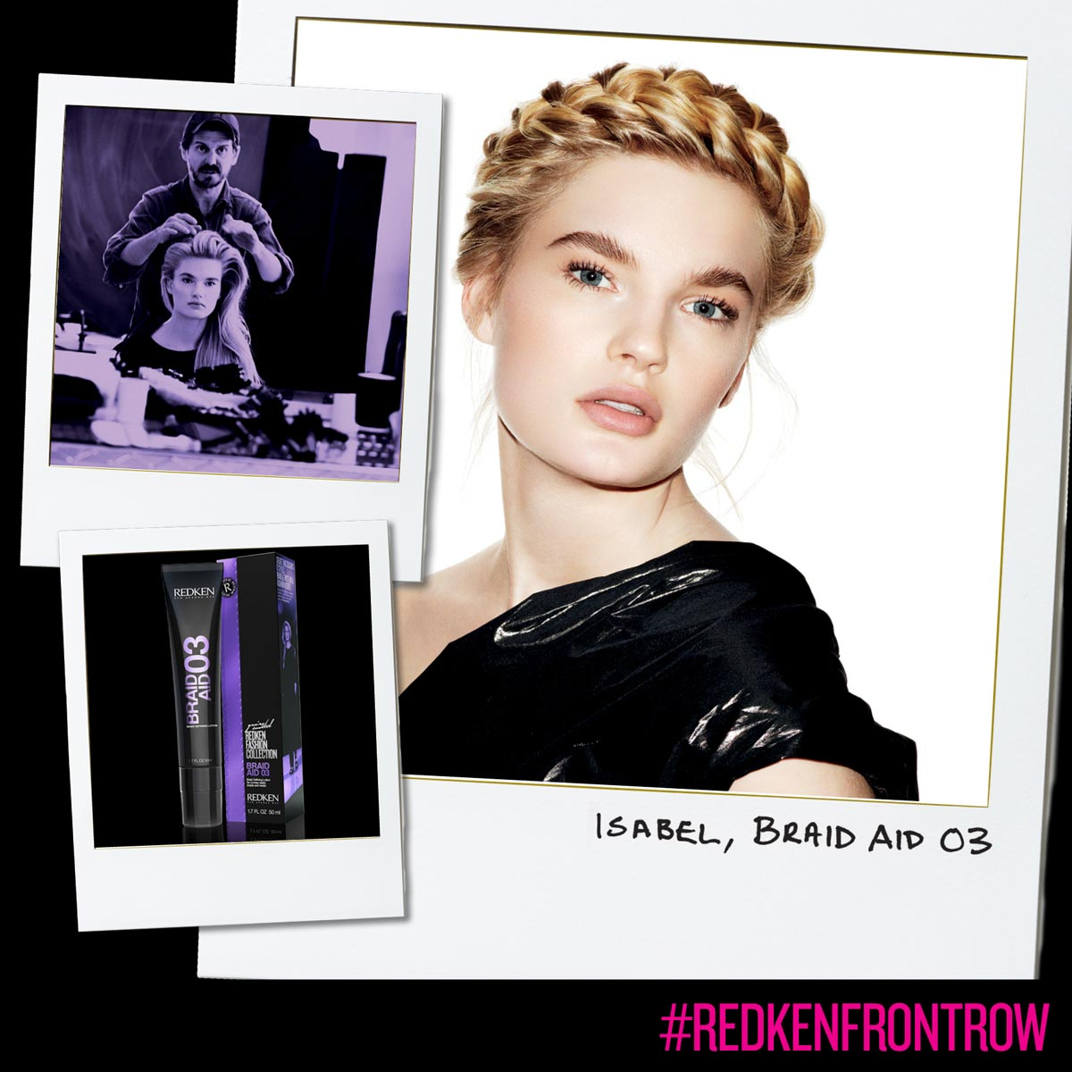 Braid as a crown or drindl by Redken and styling for braids.