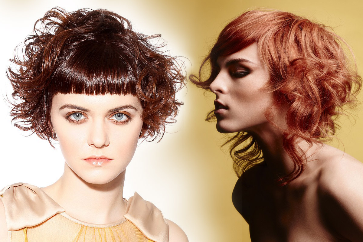 Bangs can have many faces with wob. (On the left: Haringtons – PURE Collection, hair: Haringtons Art Team. On the right: Goertz Hair – Fine Lines Collection, hair: Goertz Hair @ Goertz Hair Braunschweig, Germany, foto: Tom Carson, production: Global Hair & Fashion Group, make-up: Betty Mekonnen, styling: Alexandra Archibald/www.petitenue.com & Lisa Conigliaro.)