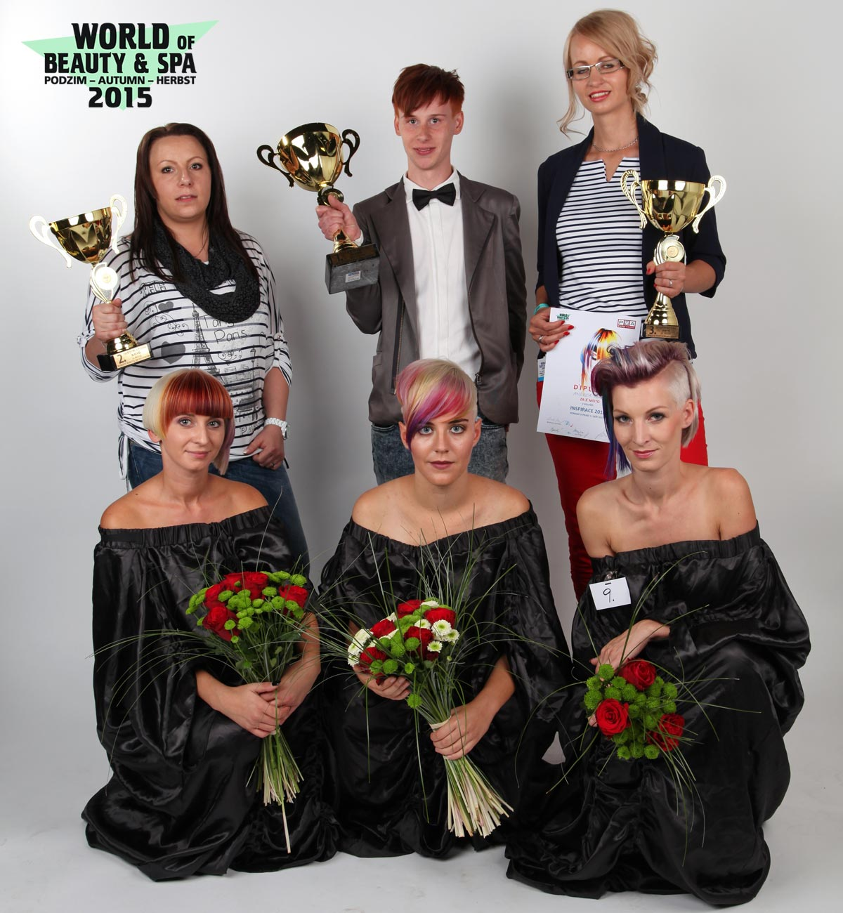Valued hairdressers and their hairstyles in the competition Inspiration: 1st place Patrik Hagara, Sanett, Prague; 2nd place Marie Malatova, Salon Inspiration, Tachov; 3rd place Andrea Mala, Salon de coiffure, Nova Paka.
