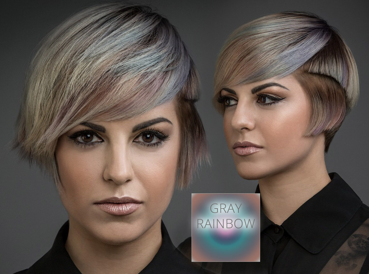 Trendy colors for short hair fall/winter 2015/2016: hair looks perfect in colors of gray rainbow!
