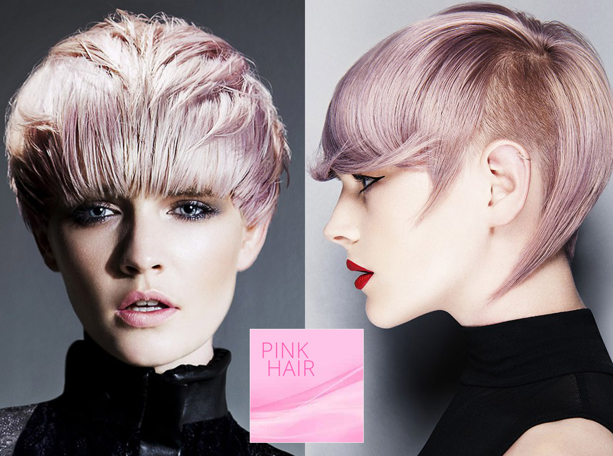 Trendy colors for short hair fall/winter 2015/2016: pink hair color is ideal for short haircut!