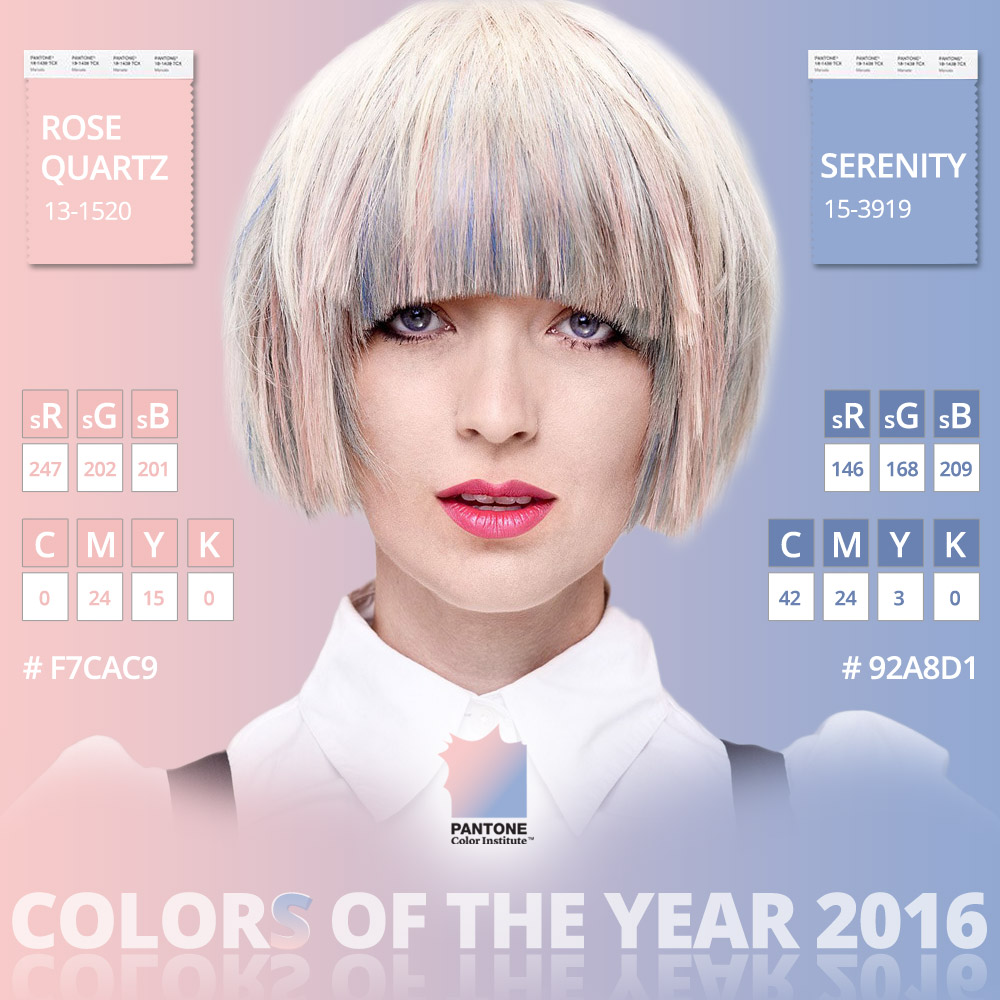 Color of the year 2016 is Rose Quartz (13-1520) a Serenity (15-3919) according to Pantone. Certainly this magnificent colors and their blending will appear also in hairstyles.