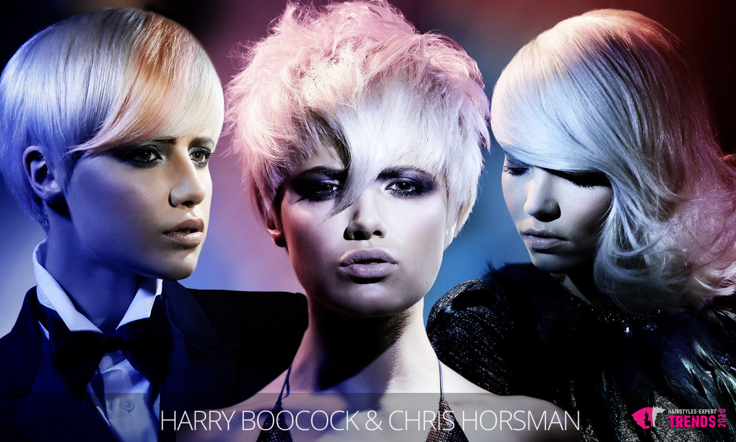 Pink and blue pastels can entirely change the blond hair. (Hairstyles are from Harry collection, hair: Harry Boocock and Chris Horsman, photo: Jim Crone, MUA: Lan Nguyen, styling: Desiree Leader.)