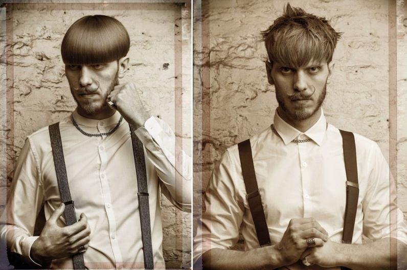 Alexander Lepschi and his inspiring beard 2016 - Austrian Hairdressing Awards 2015. Really thick moustache is in contrast with graduated layered haircut. First with a smooth fringe and then with a naturally wavy fringe. Similarly, a smooth shag styling follows a shorter moustache with proudly styled little moustache.